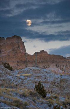Moon over the Badlands by Photographer Rikk Flohr, 2008 Artist in Residence. Badlands National Park