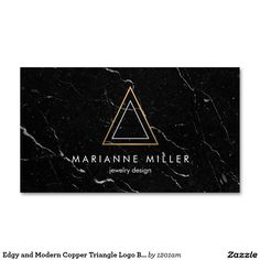 As seen on http://instagram.com/1201am.designs - Edgy and Modern Copper Triangle on Black Marble Business Card Template - Sleek and modern design for jewelry designers, architects, interior designers, boutiques and more.