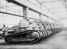 . 1916 Renault tanks built for combat in World War I in a factory in France.