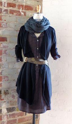 hartford dress / suss cardigan / hartford scarf / linea pelle belt
