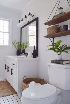 Black and White Bathroom with Wood Accent - DIY Modern Farmhouse Decor Delightfully Chic Signature Collection - swing shelf #modernmansionblack