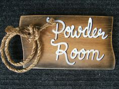 """Powder Room Rustic Western Sign with Lariat Rope 5 x 9 x 3/4"""" thick Bath Decor"""