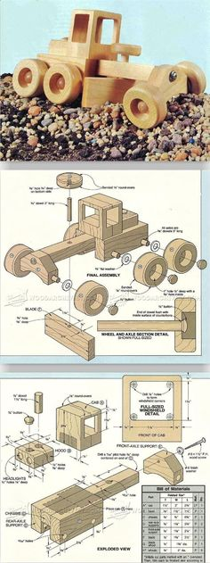 Road Grader - Wooden Toy Plans and Projects | WoodArchivist.com #WoodworkingChildrenToys