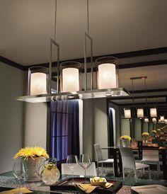 Voici un luminaire suspendu classique et épuré utilisé ici comme luminaire d'ambiance.