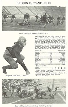 1924 Oregon-Stanford football game.  From the 1925 Oregana (University of Oregon yearbook).  www.CampusAttic.com