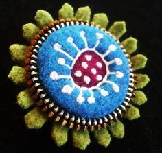 Felt and zipper brooch    by woolly fabulous