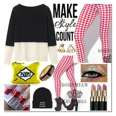 """Wear Red Patterned Leggings"" by westcoastcharmed ❤ liked on Polyvore featuring Toast, Vans, Bobbi Brown Cosmetics, Betsey Johnson and Bling Jewelry"