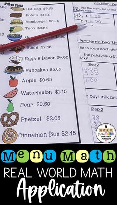 """This includes a fun and colorful """"menu"""" with a variety of different food items listed. Students use the menu to answer a variety of different addition and subtraction money problems."""