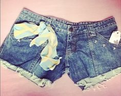 Blue Jean Shorts Studded Brand Frankies Size 8 by TSWCouture