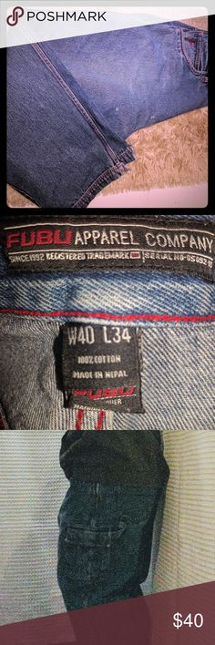 FUBU the collection 10 pocket distressed vtg jeans Old school baggie carpenters. Slit gems, a few stains one small hole and ware can be seen. OG w40 L34 fubu Jeans Relaxed