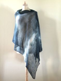 grey linen poncho, women graphite poncho, knit ombre hemp shawl, hand dyed flax scarf, unique linen cover, knitted linen wrap, OOAK 82 by AnnaDamzyn on Etsy
