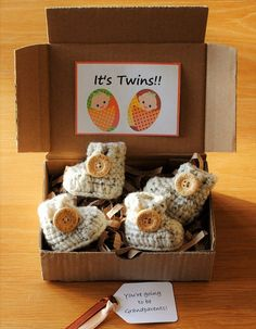 TWINS Pregnancy Baby Announcement by WeDoSmallOriginals on Etsy