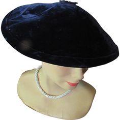 Mid-Century Pagodine Hat in Midnight Blue Velvet Wide Brim