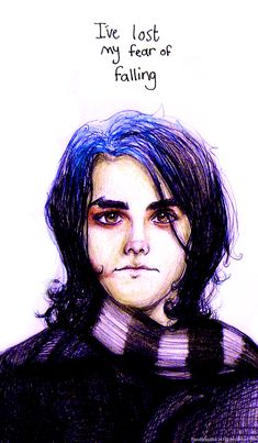 Studying, studying, studying and suddenly. Colored pencil, ballpoint pen and gimp I lost my fear of falling I will be with you I wi. It's not a Fashion Statement Gerard Way, Music Mood, My Music, Emo Bands, Music Bands, Lindsey Way, My Chemical Romance, Music Stuff, Romans