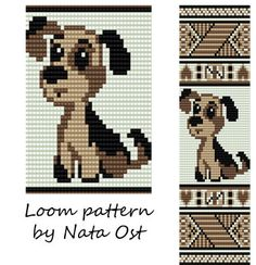 Beading Loom Pattern Bracelet Puppy Seed Bead Cuff by NataOst Seed Bead Patterns, Peyote Patterns, Beading Patterns, Beaded Bookmarks, Cross Stitch Bookmarks, Bead Loom Bracelets, Beaded Bracelet Patterns, Cross Stitching, Cross Stitch Embroidery