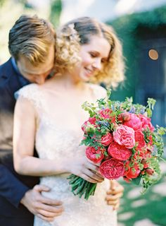 Italian Renaissance Editorial by Jen Huang Photography Red cabbage rose and greenery bouquet