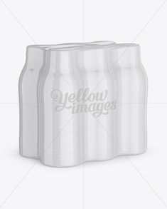 6 Pack Plastic Bottles Mockup. 3/4 View