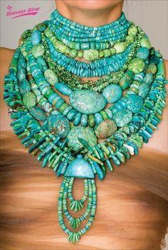 Collage of Turquoise Beads on bare ladies neck. Ethnic Jewelry, Boho Jewelry, Jewelry Art, Beaded Jewelry, Jewelry Necklaces, Handmade Jewelry, Jewelry Shop, Jewellery, Mode Hippie