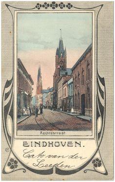 Rechtestraat, met het stadhuis en rechts daarvan Van Gend & Loos. Op de achtergrond de Catharinakerk - 1905