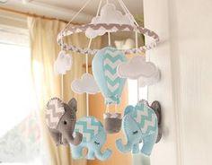 Baby Boy Mobile - Nursery Mobile - Elephant mobile - Air Balloon Mobile - Blue Grey Mobile - MADE TO ORDER