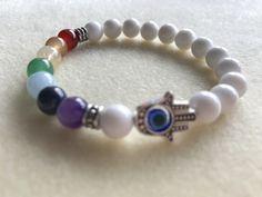White Jade Chakra Bracelet with Hamsa Hand and Evil Eye Protection Charm by handkraftedbykat on Etsy