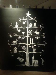 Schoolbord en krijt en je hebt een superleuke kerstboom!
