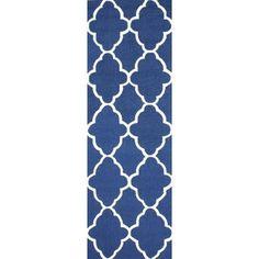 nuLOOM Handmade Wool Moroccan Trellis Blue Runner (2'6 x 8')
