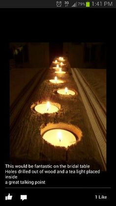 Wooden table centre pieces with tealight candles