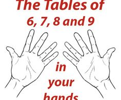 Tables of 6, 7, 8 and 9 in your hands #homeschool #math #multiplication