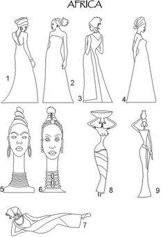Figuras Africanas African Drawings, African Art Paintings, African Theme, African Masks, African Quilts, Afrique Art, African Design, Tribal Art, Art Sketchbook