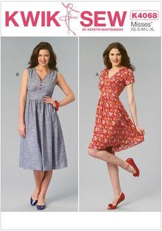 Misses Dresses Kwik Sew Sewing Pattern No. 4068. Size XS-XL.