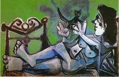 Lying Female Nude with Cat -   Pablo Picasso, 1964