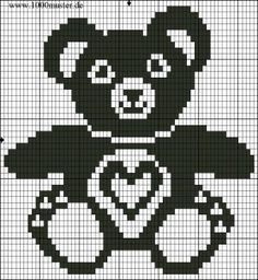 This Pin Was Discovered By Reb - Diy Crafts - maallure Crochet Pullover Pattern, Crochet Patterns Filet, Cross Stitch Patterns, Crochet Teddy, Crochet Bear, Knitting Charts, Baby Knitting Patterns, Crochet Pixel, Knitted Blankets