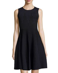 Polka-Dot+Sleeveless+Fit-and-Flare+Dress,+Black/Navy+by+Line+at+Neiman+Marcus+Last+Call.