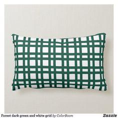 Forest dark green and white grid lumbar pillow Lumbar Pillow, Throw Pillows, Green Cushions, Custom Pillows, Grid, Pine, Art Pieces, Dark, Fabric