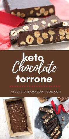 Keto chocolate torrone is a rich chocolate shell filled with sugar free chocolate cream and roasted hazelnuts. It's a classic Italian treat made low carb!