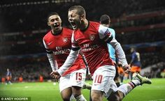 Jack Wilshere celebrates his first goal for Arsenal in 2 years (Arsenal vs Montpellier)