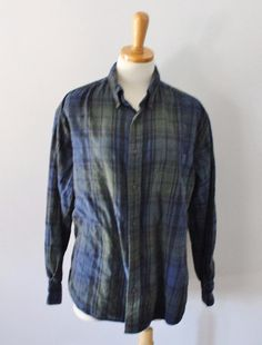 St Johns Bay blue green Plaid Flannel Shirt Men L Lumberjack cotton F01 #StJohnsBay #ButtonFront
