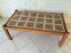 Vintage Retro Coffee Table Tiled Top With Tile Inlay Tiles Hardwood Frame 70 S