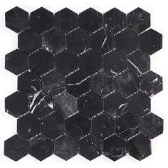 Mosaikk Tenfors Hexagon Marble Black 29,8x30,5 cm Hexagon Tiles, Hexagon Shape, Mosaic Pieces, Underfloor Heating, Marble Mosaic, Black Marble, Wall Tiles, Amethyst, Crystals