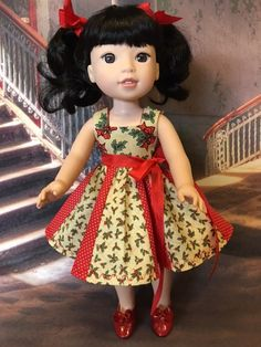 Christmas Holly Dress fits Wellie Wishers  14 1/2 inch dolls by WeeWhimzyWardrobe on Etsy