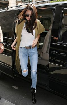 On Kendall Jenner:RockinsSnakes Super Skinny Scarf ($128); Erika Cavallini Spring 2016 Duster Coat; Re/Done1960s Slim Tee ($78); Citizens of HumanityLiya High Rise Classic...