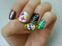NFL Steelers Football nail art