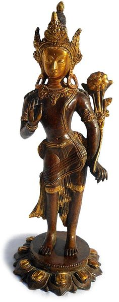 Antique Tibetan Gilded Bronze Standing Padmapani Buddha Statue. Circa: 19th-early 20th Century