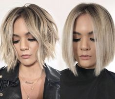 The Perfect Blonde: Hybrid Balayage & Foil Technique - Dekoration ,tattoos,frisuren und mehr Short Bob Haircuts, Hairstyles Haircuts, Short Blunt Haircut, Ladies Hairstyles, Short Trendy Hairstyles, Short Blunt Bob, 1940s Hairstyles, Teenage Hairstyles, Bandana Hairstyles