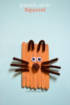 Popsicle sticks squirrel kids craft is fun to make in Autumn/ Fall and Winter Holiday season. Make rain forest animals with lolly or wooden sticks tutorial. Lolly Stick Craft, Popsicle Stick Crafts, Popsicle Sticks, Craft Stick Crafts, Craft Ideas, Garden Crafts For Kids, Crafts For Kids To Make, Teaching Kids Colors, Teaching Ideas