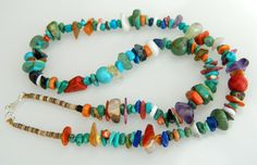 "Native American Santo Domingo Turquoise Lapis Coral Sterling Necklace 19 3/8"" - Jeanette Calabaza"