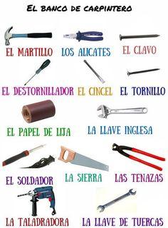 Herramientas y objetos de carpintería Voor de doe-het-zelver, een handig plaatje met de namen van de verschillende gereedschappen. De winkel die deze gereedschappen verkoopt heet een ferretería (ijzerhandel).
