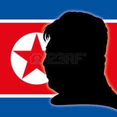 Kim Jong-un silhouette portrait with North Korea flag
