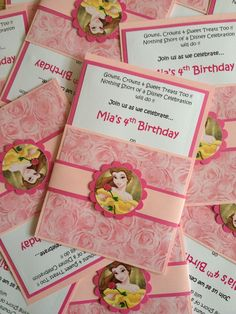 Belle party invitations   Disney Princess Party   Pinterest